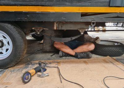 Installing wheel axles